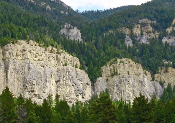 Cliffs along the Gallatin River on Montana's Highway 191 add to the areas scenic beauty.