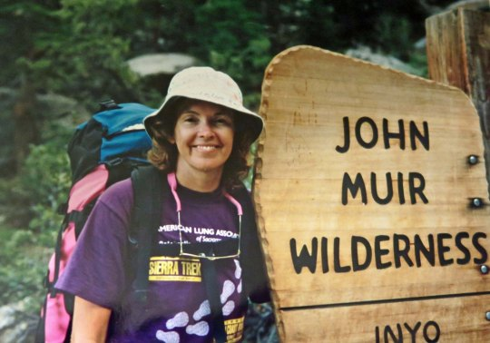 A 1993 photo of Peggy one year after we had married. Always up for an adventure, she had just finished a 150 mile backpack trip down the John Muir Trail I had led. More to the point she had just finished hiking a 16 mile day with a 40 pound pack up and over Mt. Whitney that had included 9000 feet of elevation gain and loss. And she was still smiling!