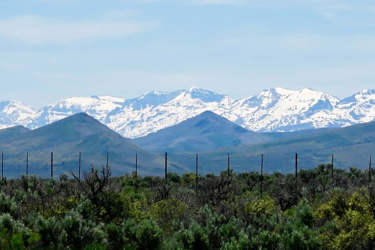 Another view. Nevada is part of the Great Basin and is made up of several ranges with basins between. During the winter and into early summer, these ranges are often covered with snow.