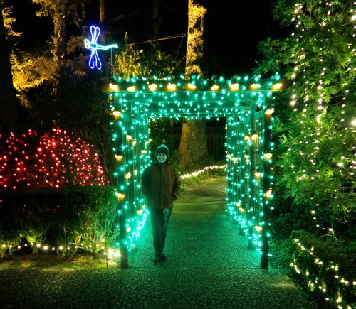 Green lit arbor and Peggy Mekemson at Oregon's Shore Acres' State Park Holiday of Lights display.
