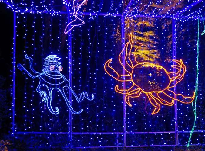 Crab and octopus at Oregon's Shore Acres' State Park Holiday of Lights display.