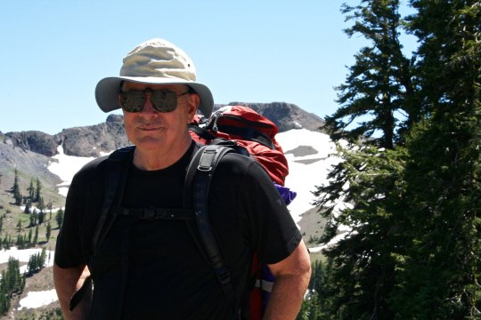 Curtis Mekemson hiking along the Pacific Crest Trail behind Squaw Valley.