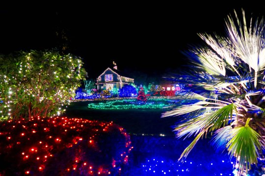 Gingerbread house at Oregon's Shore Acres' State Park Holiday of Lights display.