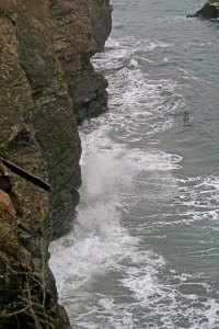 A cliff from the Mendocino Headlands next to the town of Mendocino in Northern California.