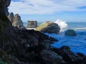 Waves breaking at Patrick State Park north of Eureka and Arcata, California.