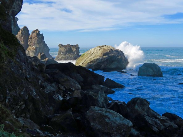 Waves breaking at Patrick State Park north of Eureka and Arcata, California.