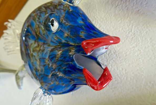Red lipped blue fish produced at the Glass Forge in Grants Pass, Oregon.