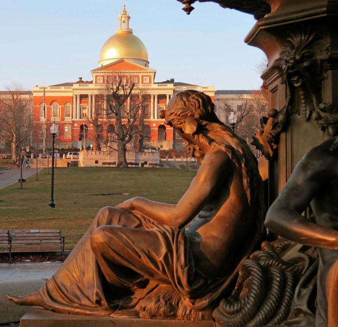 When Peggy and I walked across the Boston Commons three weeks ago, it was a quiet day except for fat squirrels wanting to become fatter. Back in 1775 when Paul Revere made his mad dash, British troops were camped out here. On Saturday, an estimated 150,000 gathered between here and the Massachusetts Statehouse for the Women's March. I thought the woman's statue was appropriate for this photo.