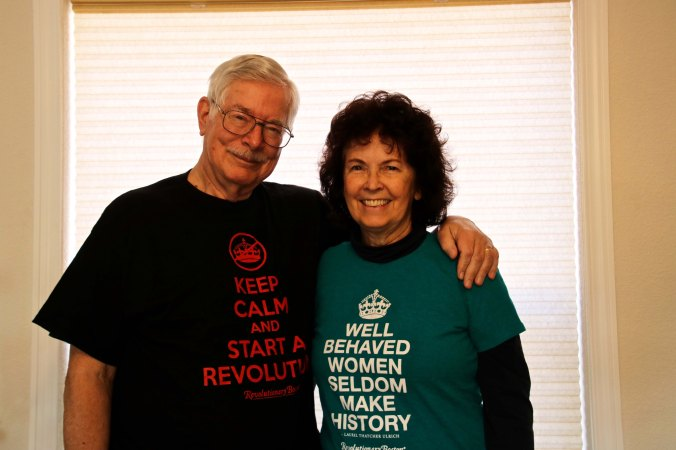 Peggy and I found these T-shirts featured in Boston's Old State House where freedom still rings.