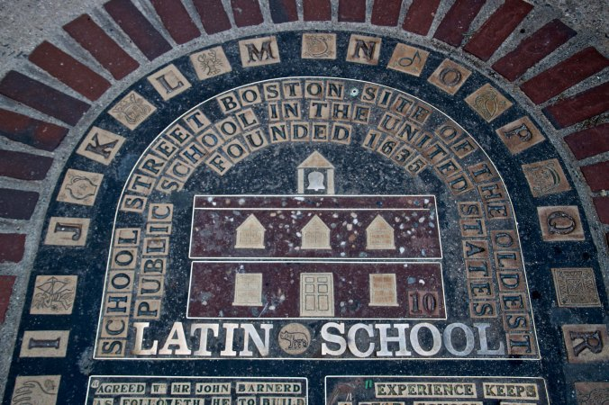 This plaque on School Street notes where the Latin School stood. Founded on April 23, 1635, it is the oldest public school house in America. People such as Benjamin Franklin, Samuel Adams and John Hancock attend the school. Public education in America may become a thing of the past under Betsy DeVos, his new Secretary of Education, who will gut public schools in favor of private schools whose motivation is either profit or the promotion of a particular belief system,.