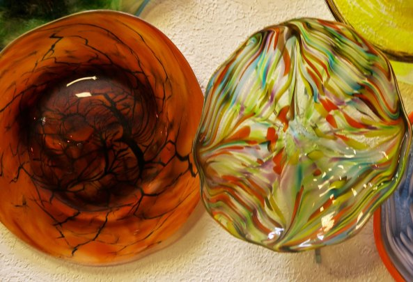Two bowls from the Glass Forge of Grants Pass Oregon.