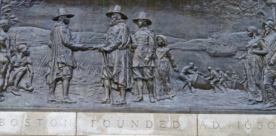 Boston Commons plaque that commemorates the founding of Boston, Massachusetts in 1630.