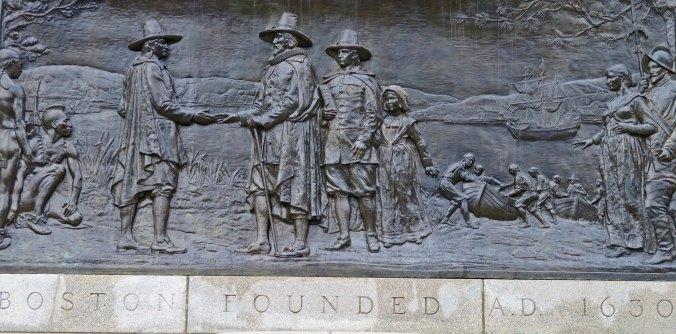 Boston Commons plaque that commemorates the founding of Boston, Massachusetts in 1630.