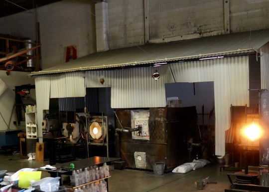 We were able to watch a vase being made. The furnaces used to melting the glass are over 2000 degrees F (1100 degrees C).