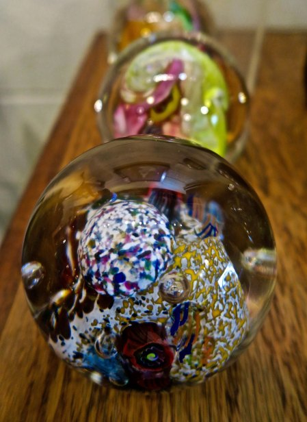 Glass paperweights available for purchase at the Glass Forge in Grants Pass Oregon.