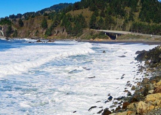 Waves come ashore along California's Highway 101.