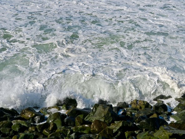 Sea foam created by a storm along the Pacific Coast.
