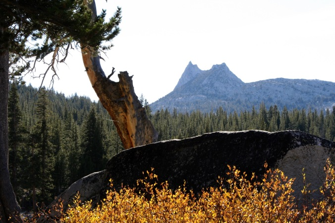 Hiking out of Tuolumne Meadows took me back around Cathedral Peaks shown here.