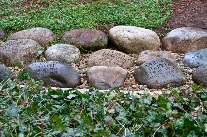 Peggy and I wondered what the significance of theses rocks were when we were on our walk. The we come on the plaque featured below.