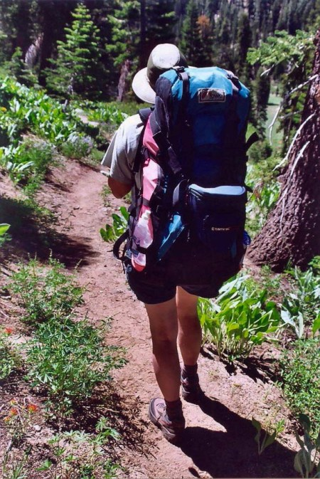 And here's Peggy hiking down one of the trails in the Granite Chief Wilderness. The pack looks almost as big as she is.