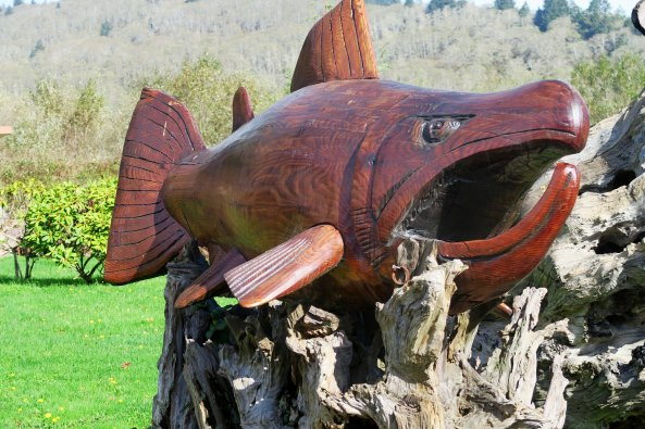 Salmon carved from redwood along Highway 101 on California's North Coast.