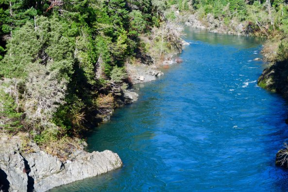 The Smith River as seen from Highway 199, the Redwood Highway , in Northern California.