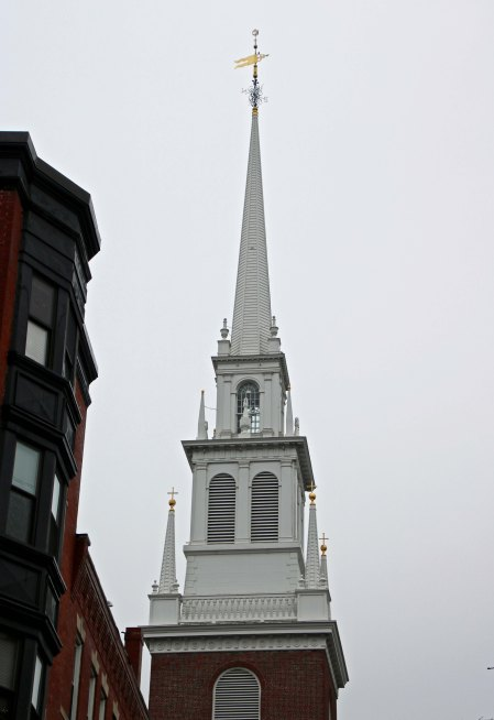 Steeple of the Old North Church in Boston, Massachusetts that played an important role in the beginning of the Revolutionary War.