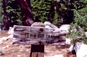 A trail sign for the Tevis Cup Trail behind Squaw Valley, California.