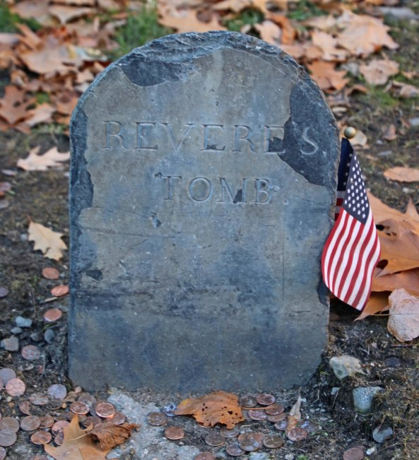 Paul Revere's tombstone in the Granary Graveyard, a place where will visit in our blog next week.