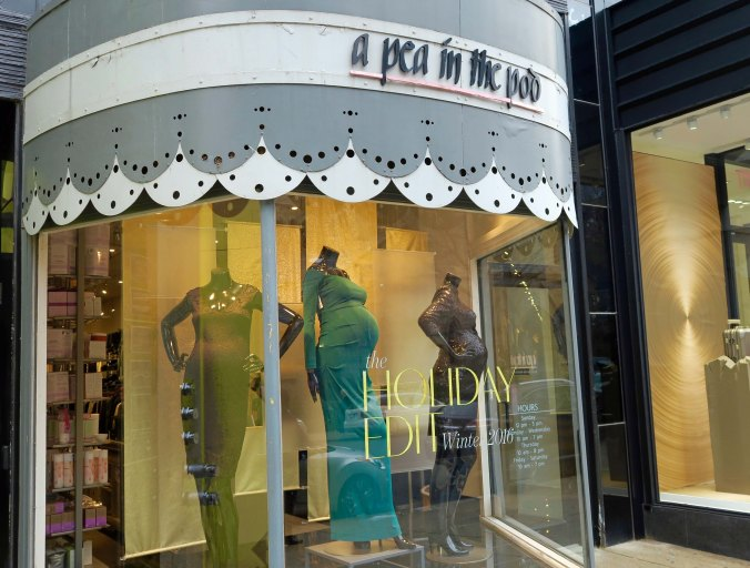 Newbury is filled with exclusive shops, including for those who have 'a pea in pod.'