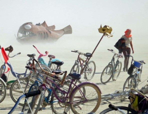 Angler Fish art car on Playa at Burning Man.