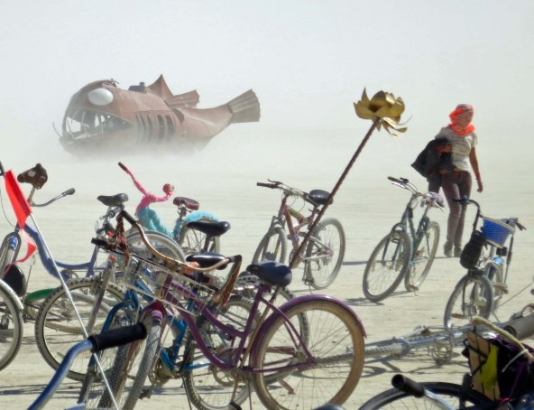 Angler Fish art car on Playa at Burning Man.