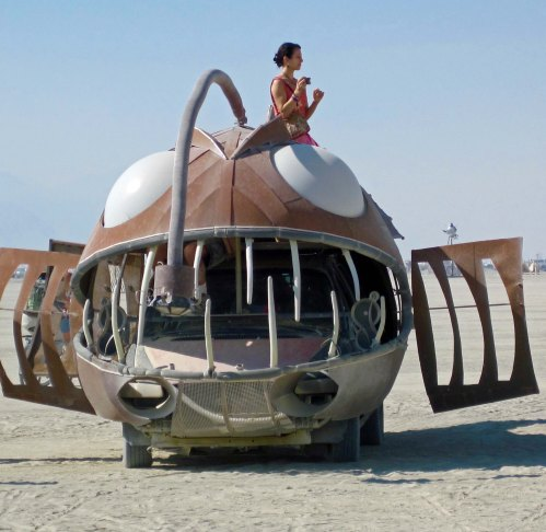 Front view of angler fish at Burning Man.