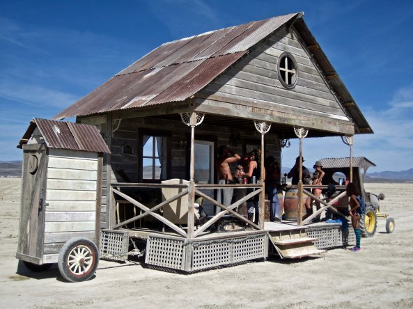 I'll conclude today with the Playa's wandering bar complete with outhouse. (Photo by Tom Lovering.)
