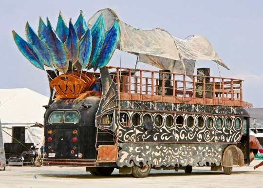 Tail feathers on a mutant vehicle at Burning Man.