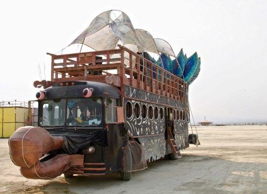 Mutant vehicle with beak at Burning Man.