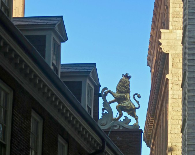 You may have noticed the lion and the unicorn on the Statehouse as well. This symbols of British power were torn down after the Declaration of Independence and were later restored.