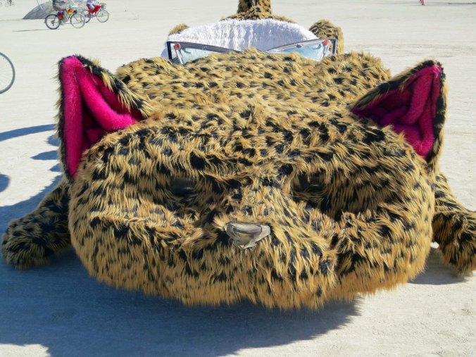 Close up of head of cat car mutant vehicle at Burning Man.