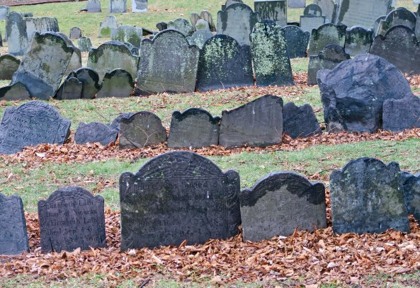 Another view of the tombstones on Cobb's Hill.