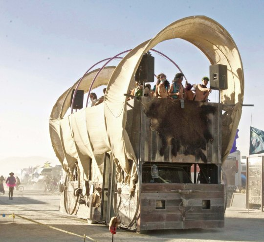Conestoga Wagon mutant vehicle at Burning Man.