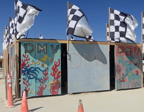 Headquarters for the Deparment of Mutant Vehicles at Burning Man.