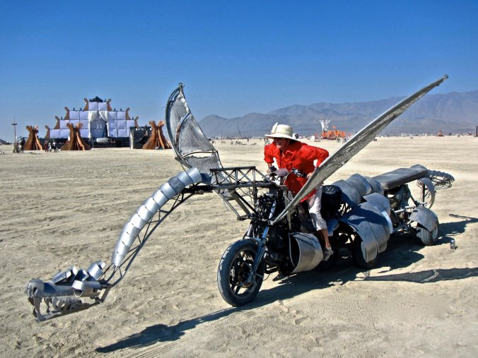 Lizard dragon mutant vehicle at Burning Man.