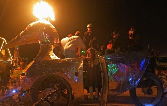 The flaming duck at Burning Man.