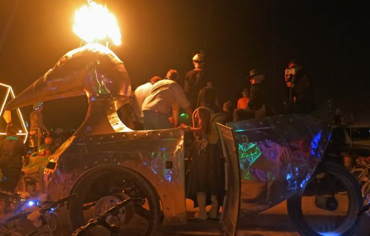 The flaming duck at Burning Man.
