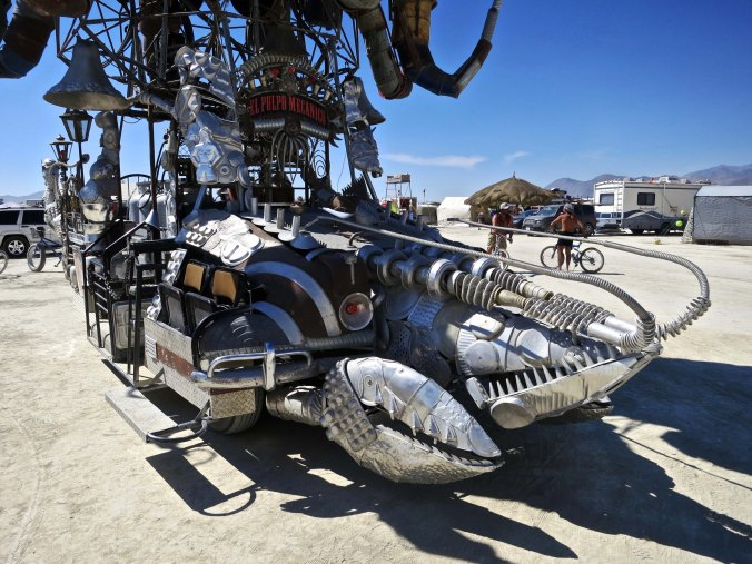 Heres a shot of his crawdad front during the day. This creature was once part of a kinetic sculpture that participated in the Kinetic Sculpture Race in Eureka.