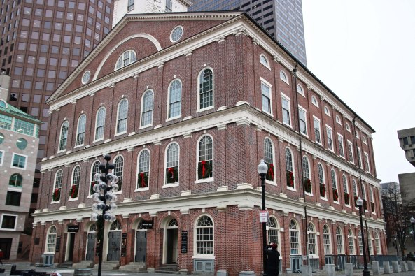 Faneuil Hall served as a more public venue for discussing the tax on tea. It wasn't big enough to accommodate everyone who wanted to protest however...