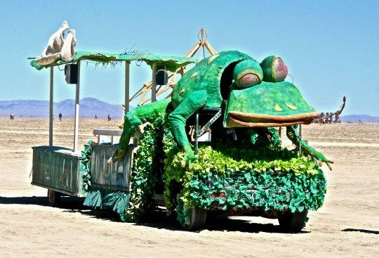 Frog mutant vehicle at Burning Man.