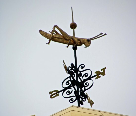Grasshopper weathervane on top of the Old State House in Boston.