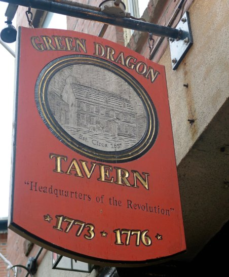This is a modern version of the Green Dragon Tavern that served as a secret gathering place for hatching many of the early protests against England's efforts to tax the colonies, including the Boston Tea Party.