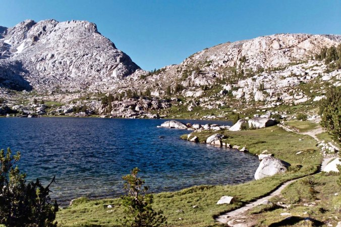 Continuing on with my theme of alpine Sierra lakes, trials like these that wander along the edge are a delight to hike.